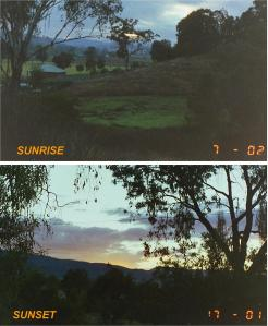 Photos of sunrise and sunset in midwinter