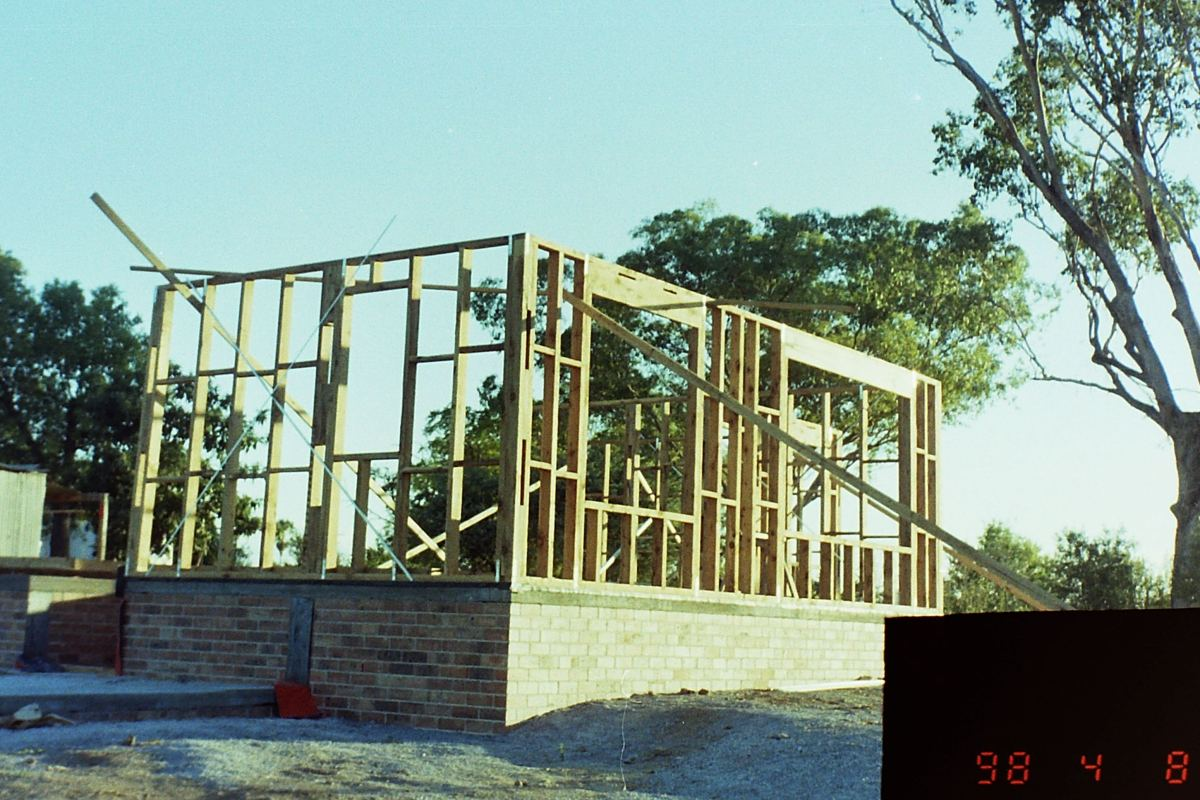 Photo of the first wall frames up