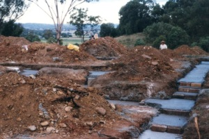 House footings on a rise