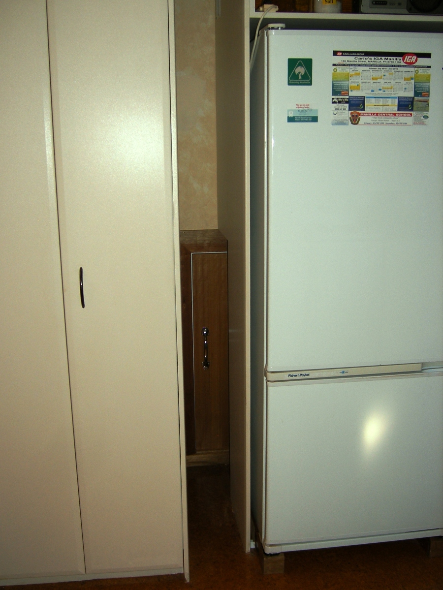 Photo of louvre, cover panel, and fridge