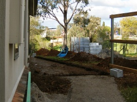 Photo of trenches dug for courtyard