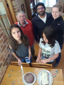 Photo of a birthday party in the solar-passive house