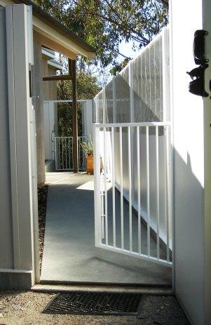 Courtyard wicket gate half open